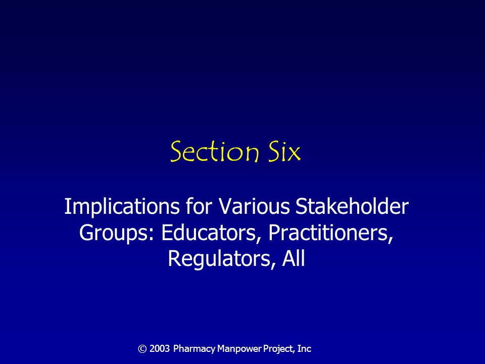 © 2003 Pharmacy Manpower Project, Inc Implications for Educators: How to Expand the Profession.
