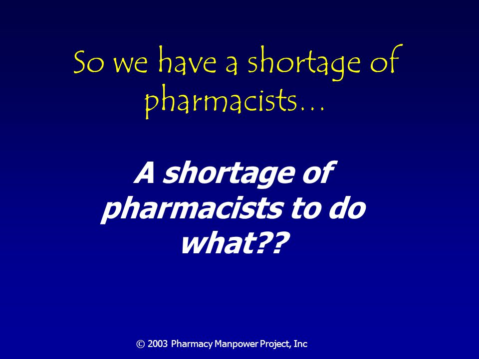 © 2003 Pharmacy Manpower Project, Inc Assure Safe & Accurate Medication Distribution Community Pharmacy, 2001: 3,000,000,000 prescriptions 132,000 community pharmacists 22,727 Rx/pharmacist/year One prescription every 5 ½ minutes