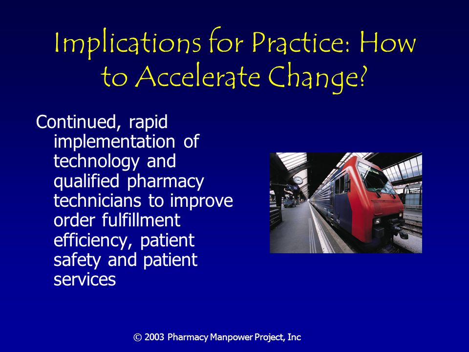 © 2003 Pharmacy Manpower Project, Inc Implications for Practice: How to Accelerate Change.