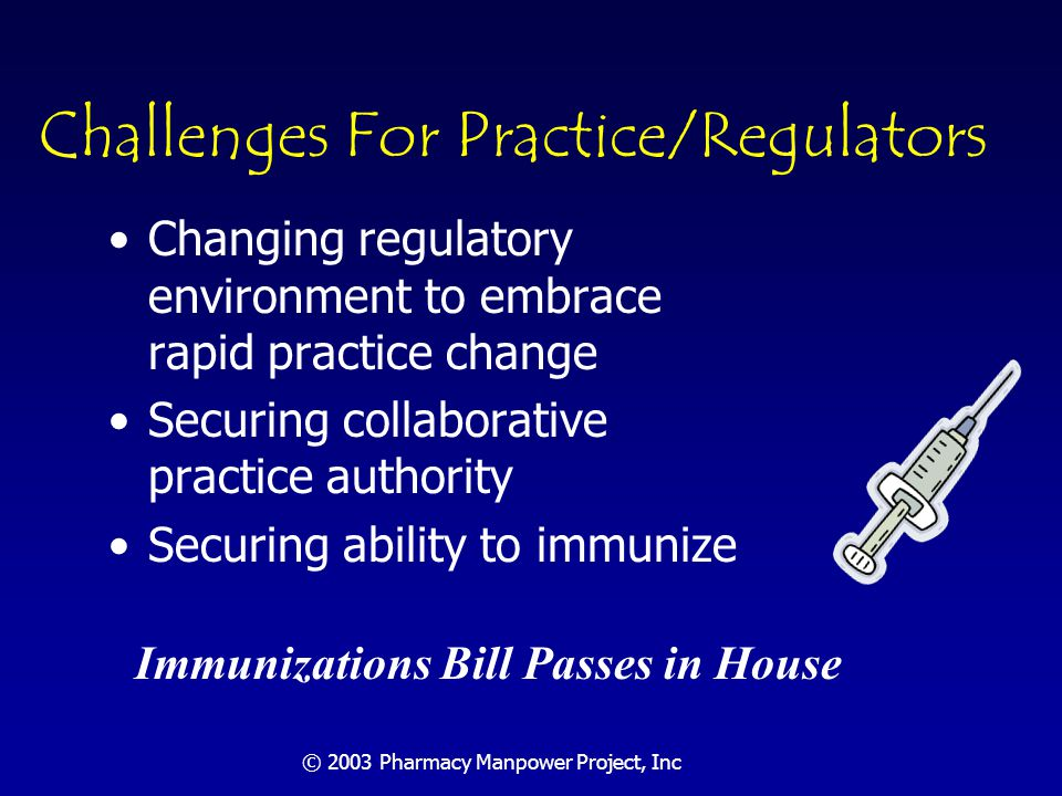 © 2003 Pharmacy Manpower Project, Inc Implications for Regulators: Technologically Facilitated Care How to regulate technologically facilitated care Remove impediments to change that can improve dispensing efficiency and patient care: –Qualified pharmacy technicians –Automation –information sharing: HIPAA concerns and security