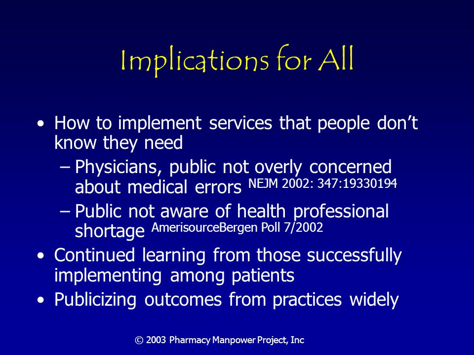© 2003 Pharmacy Manpower Project, Inc Implications for All People outside the profession care about drugs and believe they are: –Expensive –Toxic –Complex
