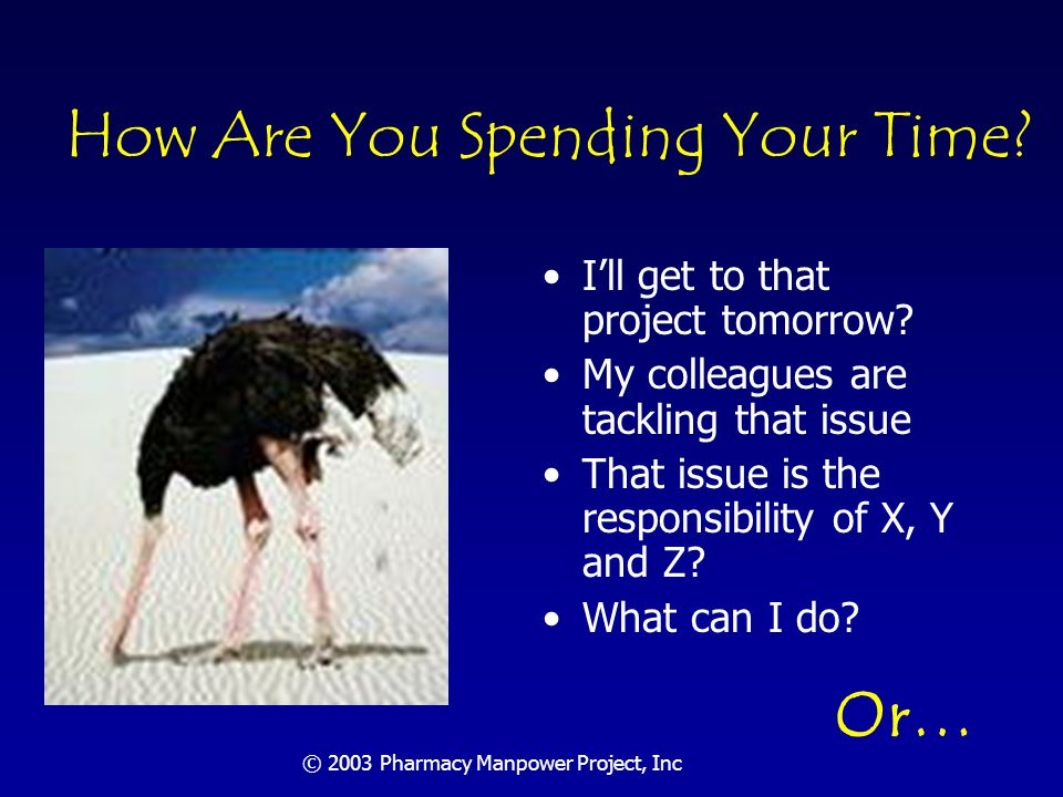 © 2003 Pharmacy Manpower Project, Inc How Are You Spending Your Time.