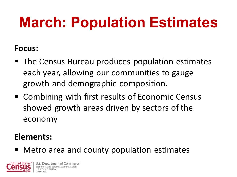 Population Estimates: Integrated Outreach Headquarters:  National news release  Satellite Media Tour Regions:  Leverage changes in local population size with local demographic beat reporters  Identify local 3 rd party experts SDC's:  Availability as Experts for interviews  Tell more in depth stories through news release, blogs social medial