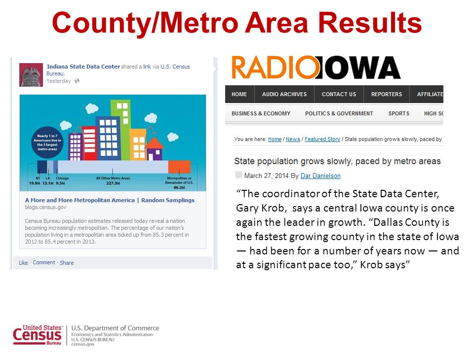 County/Metro Area Results Bob Coats works in the state budget office and the State Data Center.
