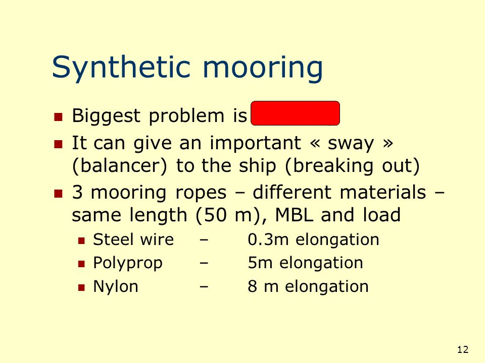 13 Synthetic mooring A side effect is sagging The « sag » is function of:  m-n Weight of the mooring line Tension in the line Water depth (suction effect)