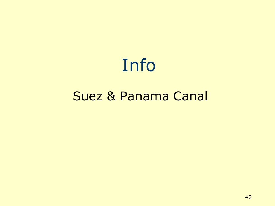 43 Suez Canal Total length is 190.25 km Water surface width is 280.345 m Width between the buoys is 195.215 m Canal depth is 22.5 m Maximum ship draught allowed is 62ft Speed allowed for loaded carriers is 13 km/h Speed allowed for unloaded carriers is 14 km/h.