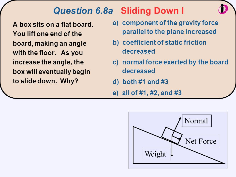 a) component of the gravity force parallel to the plane increased b) coefficient of static friction decreased c) normal force exerted by the board decreased d) both #1 and #3 e) all of #1, #2, and #3 A box sits on a flat board.