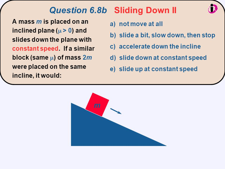 The component of gravity acting down the plane is double for 2m.