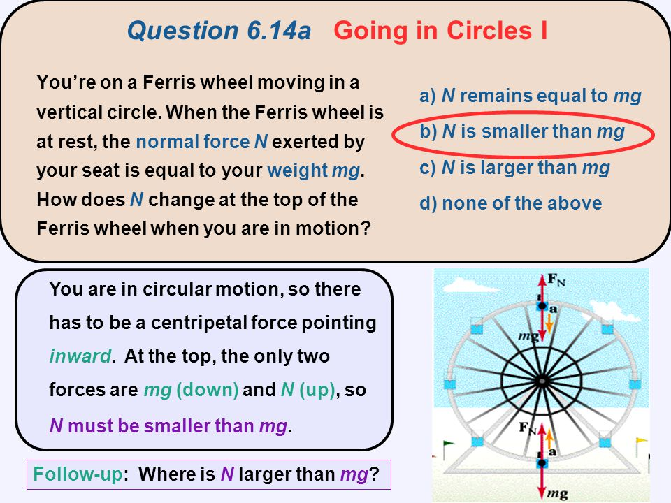 R v a) F c = N + mg b) F c = mg – N c) F c = T + N – mg d) F c = N e) F c = mg A skier goes over a small round hill with radius R.