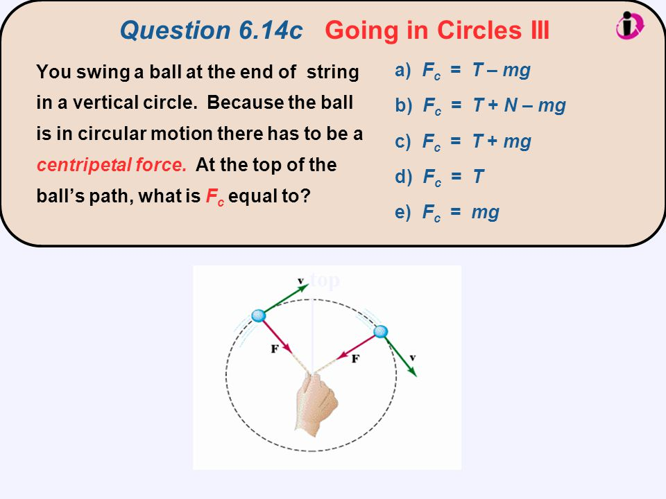 R v T mg F c points toward the center of the circle (i.e., downward in this case).