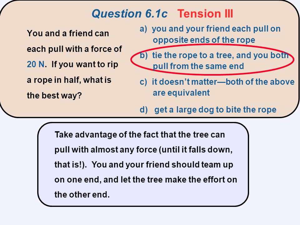 Question 6.2 Three Blocks T3T3 T2T2 T1T1 3m 2m m a a) T 1 > T 2 > T 3 b) T 1 < T 2 < T 3 c) T 1 = T 2 = T 3 d) all tensions are zero e) tensions are random Three blocks of mass 3m, 2m, and m are connected by strings and pulled with constant acceleration a.