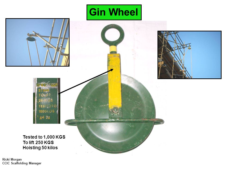 Failed Gin Wheel This Gin wheel Failed while being used and fell 52m while hoisting a 2kilo I beam.