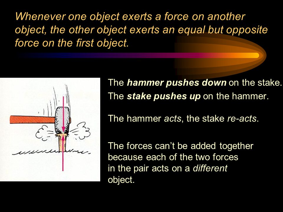 Whenever one object exerts a force on another object, the other object exerts an equal but opposite force on the first object.