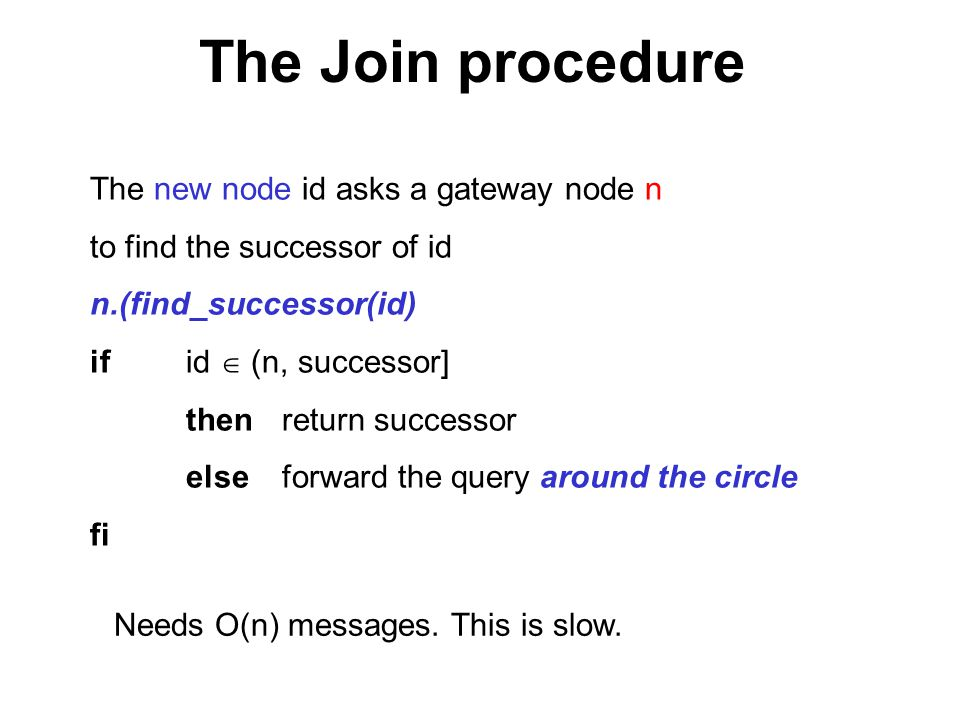 Steps in join id n Successor(n) id n Finally But the transition does not happen immediately Linked list insert