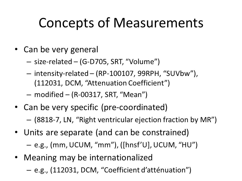 Which Sub-Templates.For measurements For description of findings.