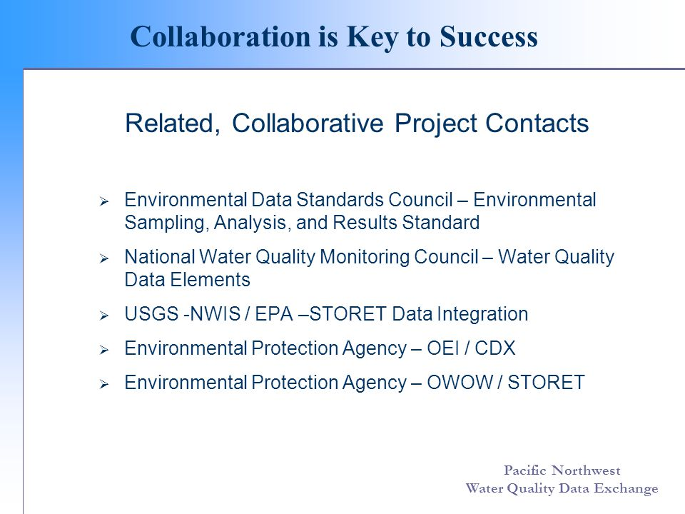 Pacific Northwest Water Quality Data Exchange Vision for the Exchange Data Flow