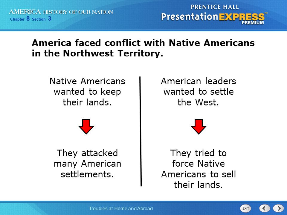 Chapter 8 Section 3 Troubles at Home and Abroad Washington sent troops to end the Native American attacks on settlers.