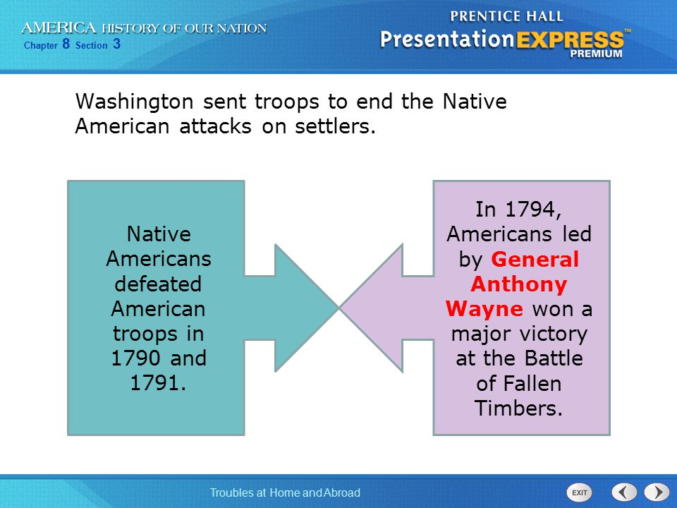 Chapter 8 Section 3 Troubles at Home and Abroad In the 1795 Treaty of Greenville, Native American leaders gave up most of their lands.