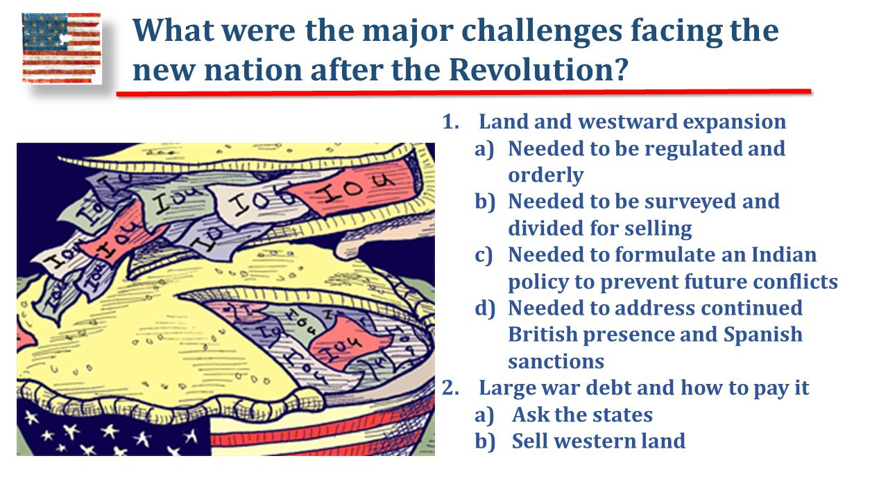 What were the major challenges facing the new nation after the Revolution.