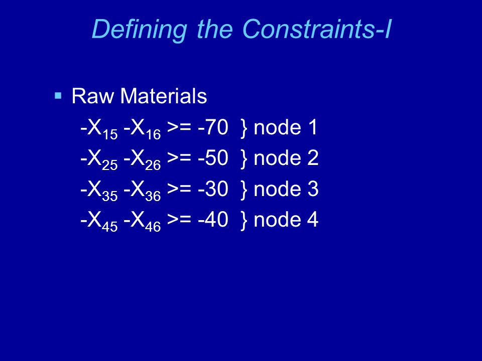 Defining the Constraints-II  Recycling Processes +0.9X 15 +0.8X 25 +0.95X 35 +0.75X 45 - X 57 - X 58 -X 59 >= 0 } node 5 +0.85X 16 +0.85X 26 +0.9X 36 +0.85X 46 -X 67 -X 68 -X 69 >= 0 } node 6