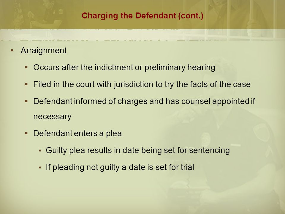 Charging the Defendant (cont.)  Types of Pleas  Not Guilty: verbally stated by defendant or entered by court if defendant refuses to answer  Nolo Contendere: (no contest) defendant does not admit guilt but agrees to accept punishment  Guilty: defendant admits criminality