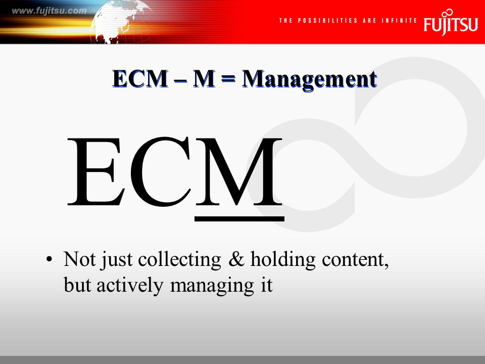 Content Exists in Numerous Formats Graphics Electronic Sound Video Web Content Email FAX Paper