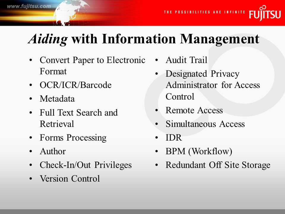 ECM Applications Horizontal Applications: –Disaster recovery –Customer records management –Human resource records management –Processing forms –Document distribution –Document publication –Automating business processes