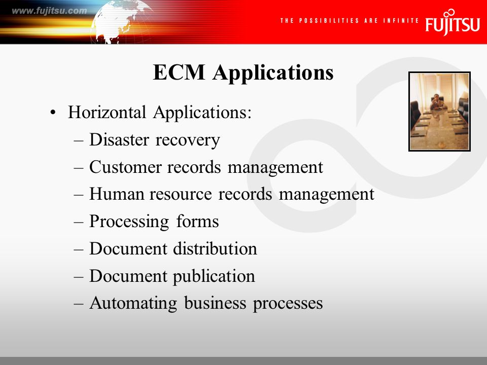 ECM Applications Education: –Student Records HealthCare: –Patient Records –Claim Processing –Order Entry (Lab, etc.) –Clinical Data Repositories Transportation: –Proof of Delivery Legal: –Client Records –Case Reports Government: –Historical Records –Parking Tickets –Compliance Documents –Police Department Records