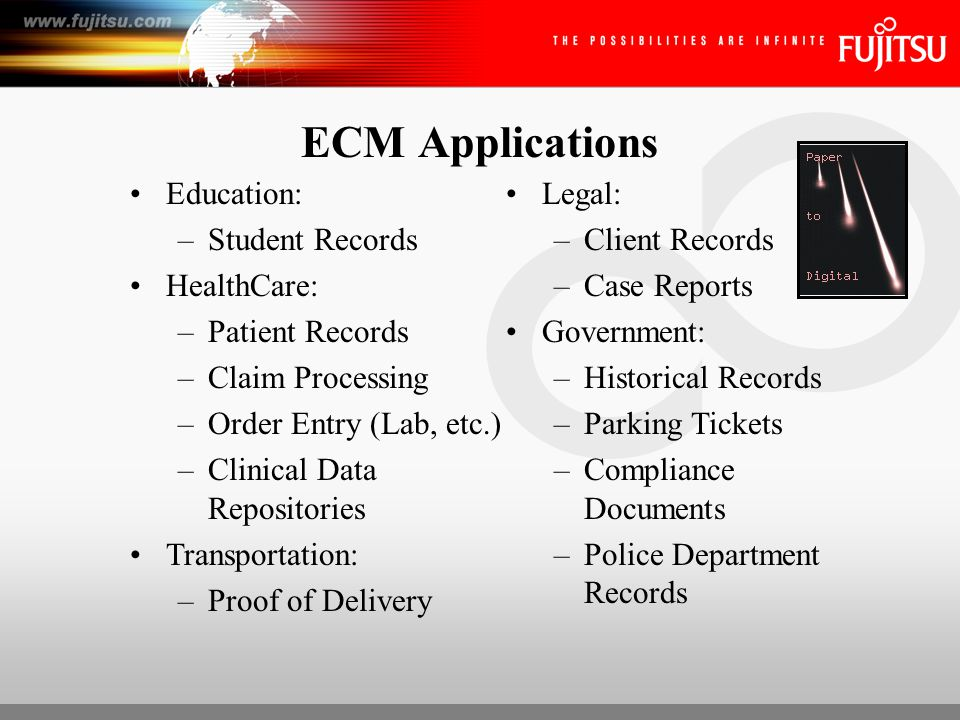 ECM Applications Insurance: –Applications –Claims –Damage Inspections Hospitality: –Charge Authorizations –Reservations Retail/Manufacturing: –Contracts –Buyer Files –Sales Agreements –ISO Procedures Banking/Financial Services: –Proof of Deposit –Check Truncation –Signature Verification –New Account ID –Transaction Processing –Safe Deposit Contracts –Wire Transfer Documentation