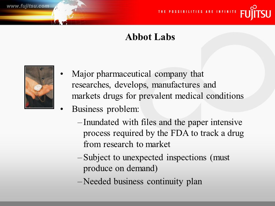 Abbot Labs Solution: –Archive and Retrieval –Production Capture –OCR/ICR –LVP scanners (6) –MVP scanners (2) ROI: –Increased efficiency by 18% –Cost savings ($.10 to copy/$.06 to image) –Decreased staff by 2 people (40K+) –Ensure protection of data