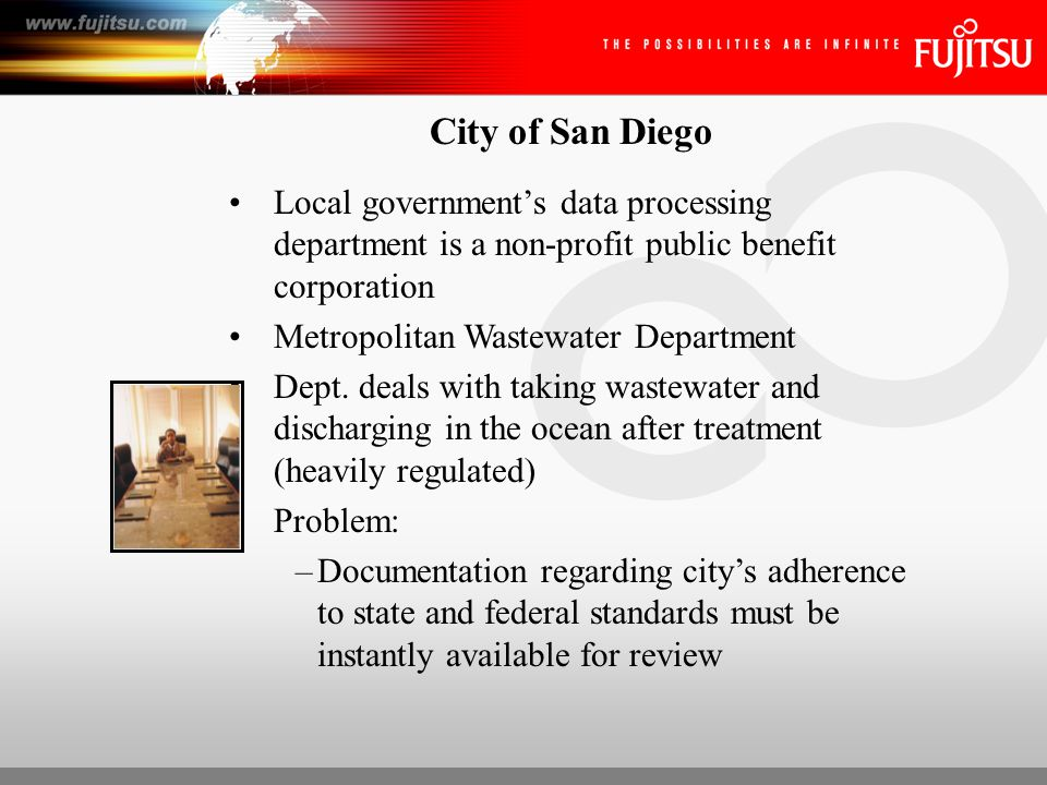 City of San Diego Solution: –Capture Software and MVP series scanners used to capture 88K pages per month ROI: –Ability to capture wide range of documents (sizes and color) –Immediate access to documents –Ensures they are in regulatory compliance