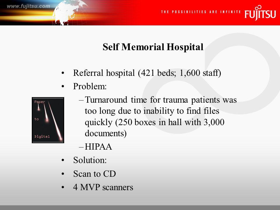 Self Memorial Hospital ROI: –Faster patient response (10 min.