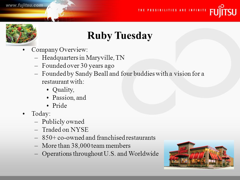 Ruby Tuesday Business Problem: –Fast-growing company with distributed operations –Needed to eliminate costly and in-efficient paper-based processes –Weekly restaurants would ship week's worth of paperwork to corporate for processing (HR documents, payroll forms & invoices) –800 packages received on a given day – FedExp boxes stacked to the rafters