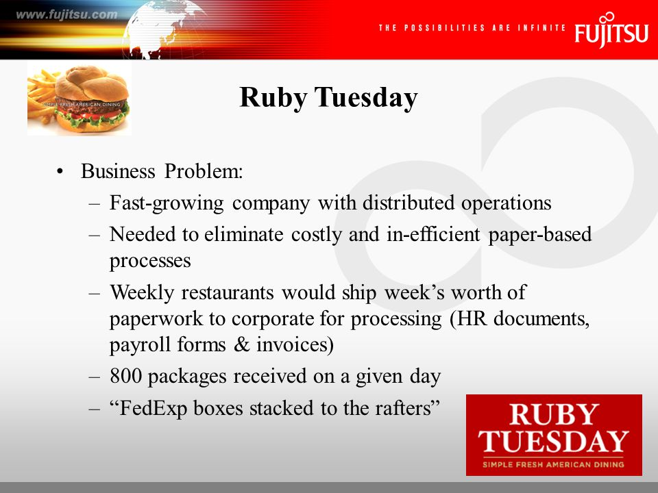Ruby Tuesday Business Problem: –Accounts payable frequently took as long as six days to process Typical AP issues: –Lost or misplaced documents resulting in duplicate payments or late fees –Average cost of processing manually $24 (.22 to $350) –Invoice volumes increasing