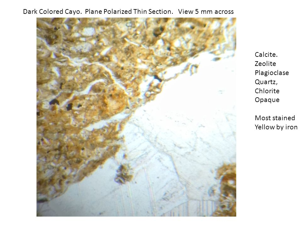 Dark Colored Cayo.Crossed Polaris Thin Section. View 5 mm across Calcite.