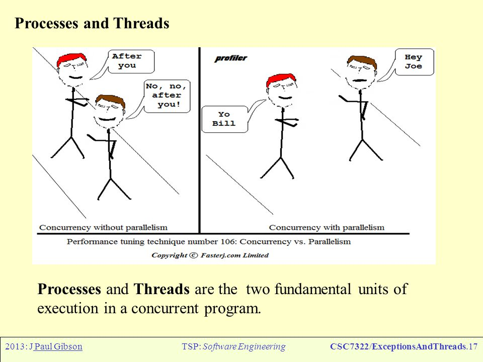 2013: J Paul GibsonTSP: Software EngineeringCSC7322/ExceptionsAndThreads.18 Processes and Threads In Java, concurrent programming is mostly thread-based.