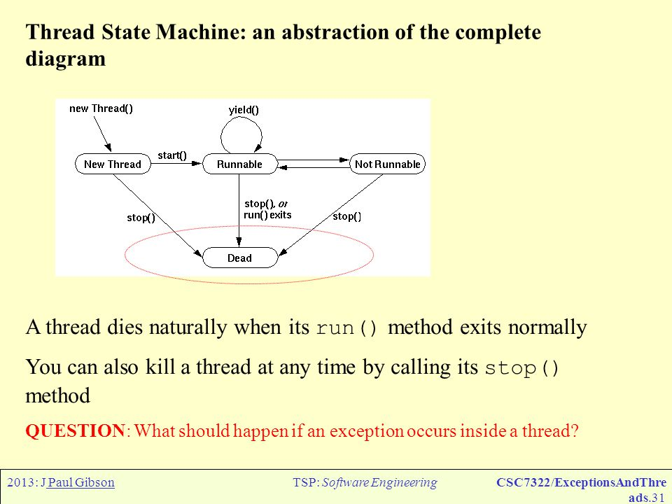 2013: J Paul GibsonTSP: Software EngineeringCSC7322/ExceptionsAndThre ads.32 Threads and exceptions: an aside The start() method does start another thread of control, but the run() method is not really the main method of the new thread.