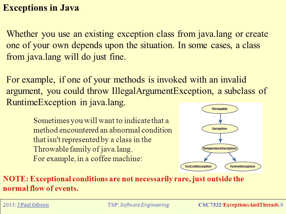 2013: J Paul GibsonTSP: Software EngineeringCSC7322/ExceptionsAndThreads.10 Exceptions in Java: Example Coffee Cup public void drinkCoffee(CoffeeCup cup) throws TooColdException, TooHotException { int temperature = cup.getTemperature(); if (temperature <= TOOCOLD) throw new TooColdException(); else if (temperature >= TOOHOT) throw new TooHotException(); else cup.sip(); } try { cust.drinkCoffee(cup); System.out.println( Coffee is just right. ); } catch (TooColdException e) { System.out.println( Coffee is too cold. ); } catch (TooHotException e) { System.out.println( Coffee is too hot. ); } }