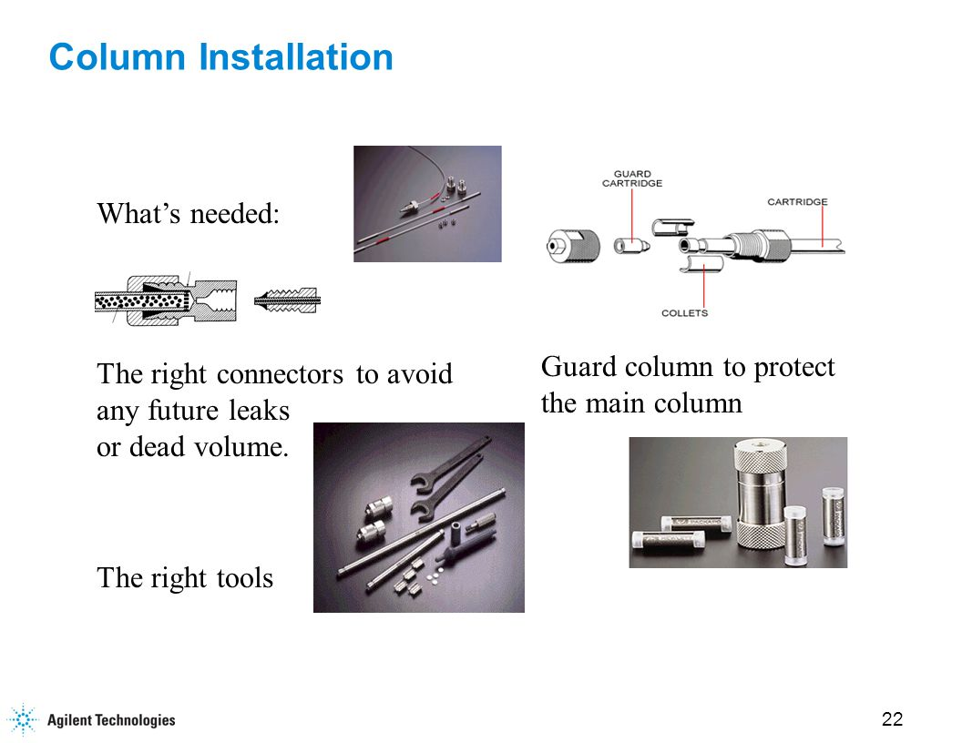 23 Column Installation cont. Practical hints: Finger tighten 1/4 turn with wrench