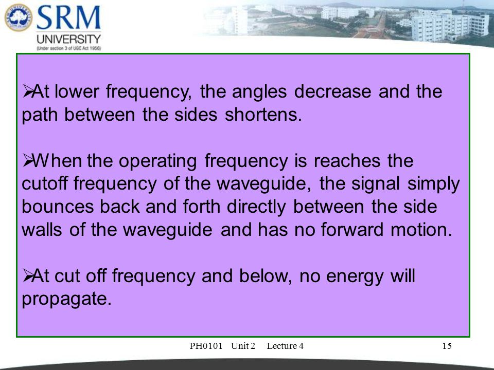 PH0101 Unit 2 Lecture 416 Cut off frequency  The exact size of the wave guide is selected based on the desired operating frequency.