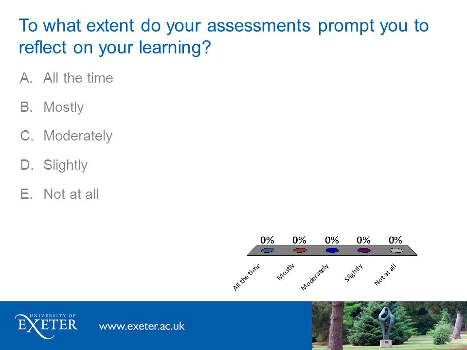 A.All the time B.Mostly C.Moderately D.Slightly E.Not at all To what extent do you have choice within your assessments, e.g.