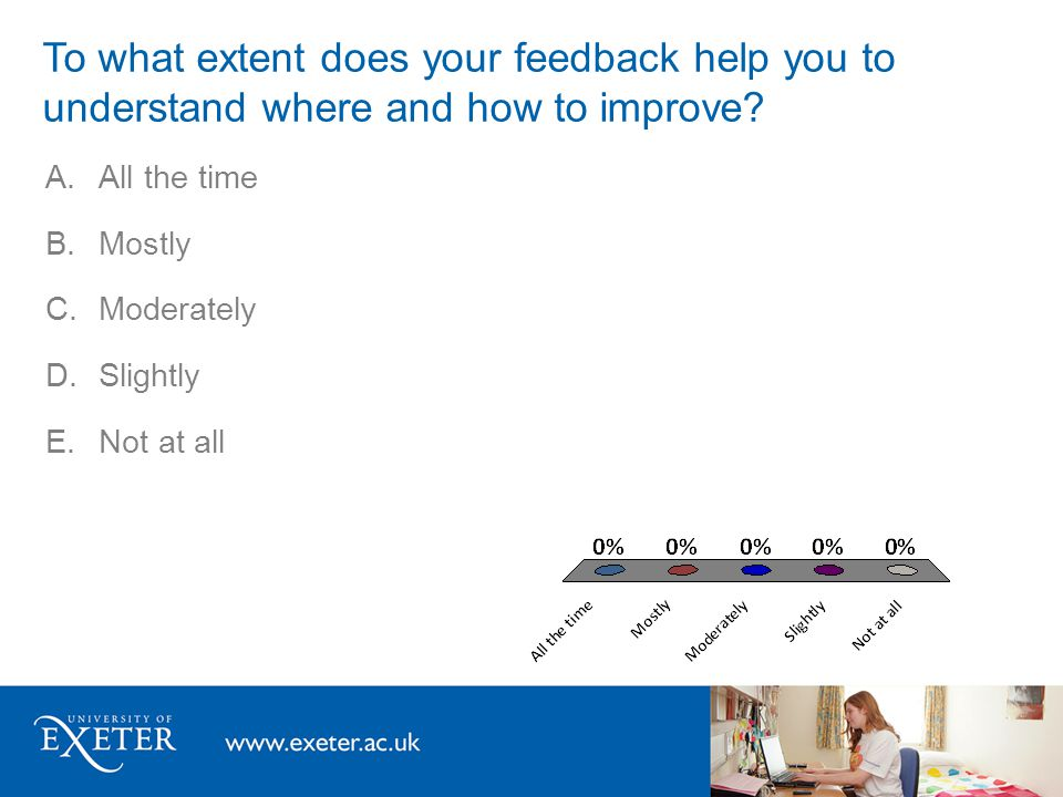 A.All the time B.Mostly C.Moderately D.Slightly E.Not at all To what extent do you have opportunities to act on the feedback you receive?