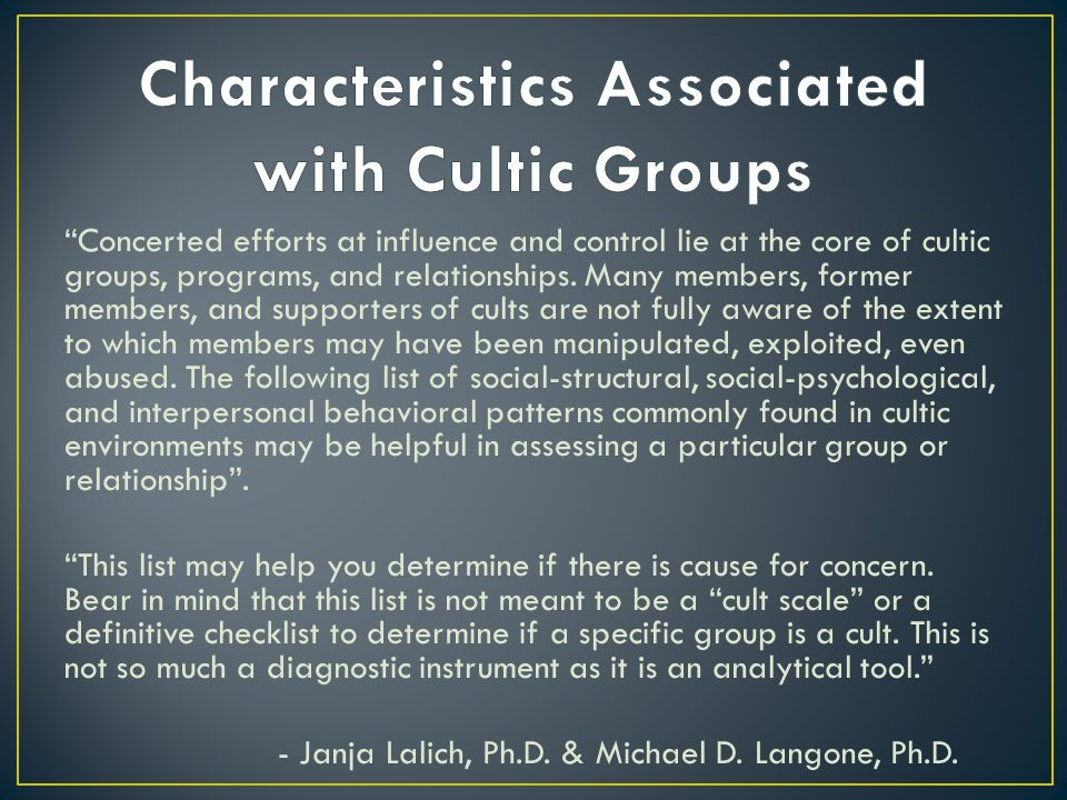 Concerted efforts at influence and control lie at the core of cultic groups, programs, and relationships.