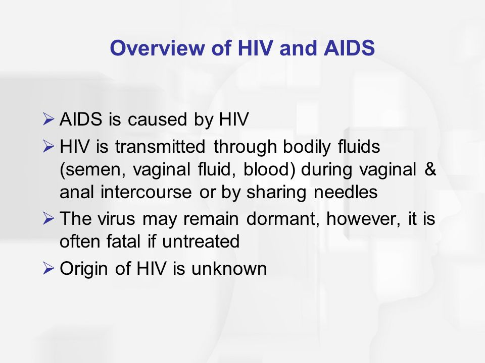 HIV and AIDS: Progression  HIV attacks T-lymphocytes (T-helper cells) in the blood, lowering the body's ability to fight infections  Immune system releases antibodies & many white blood cells to fight the HIV infection  The lowered immune system response means many opportunistic diseases infect people with AIDS that a healthy person can easily fight