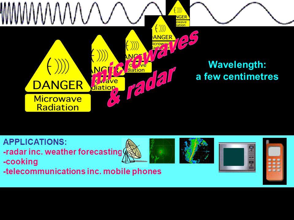 Wavelength: a few centimetres APPLICATIONS: -radar inc.