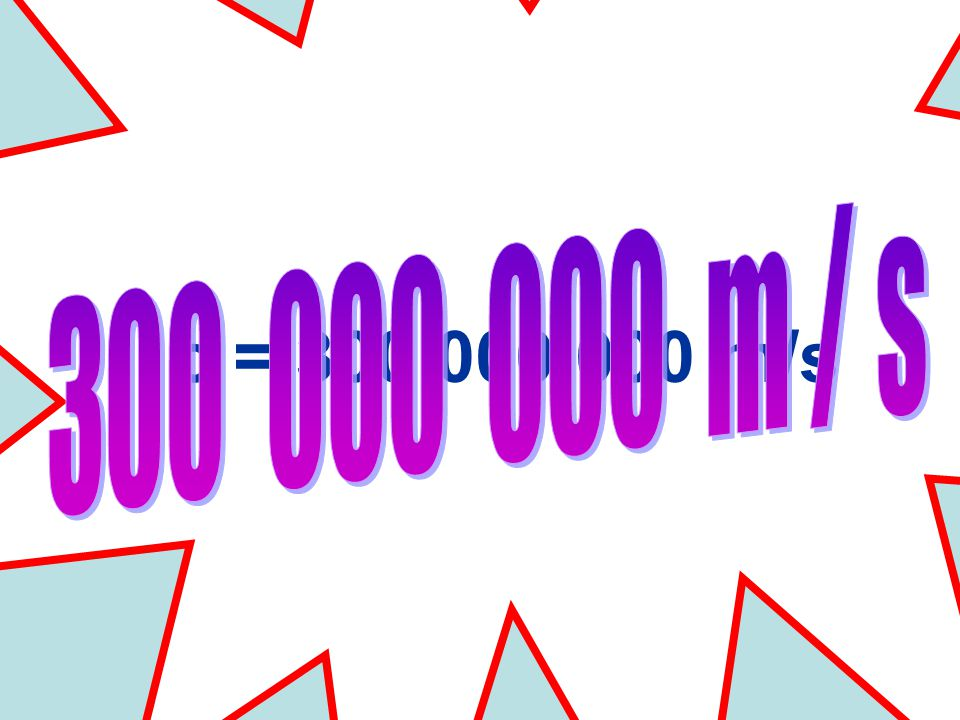 ALL ELECTROMAGNETIC WAVES TRAVEL AT THE SPEED OF LIGHT c = 300 000 000 m/s