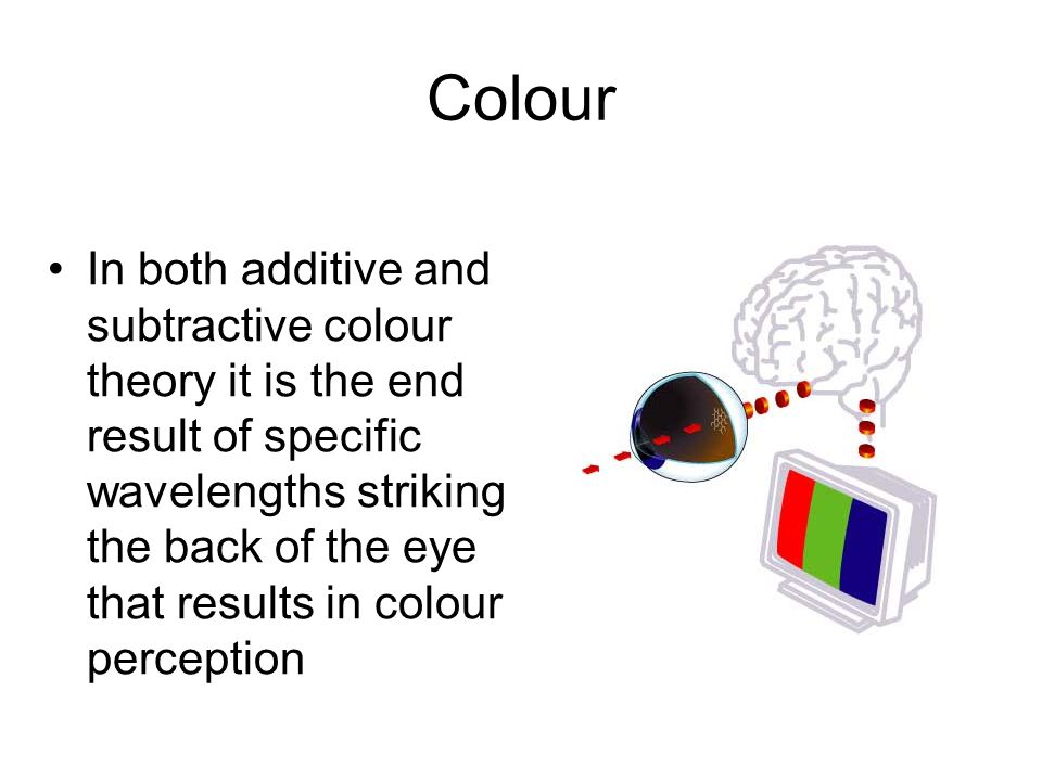 Colour In both additive and subtractive colour theory it is the end result of specific wavelengths striking the back of the eye that results in colour perception