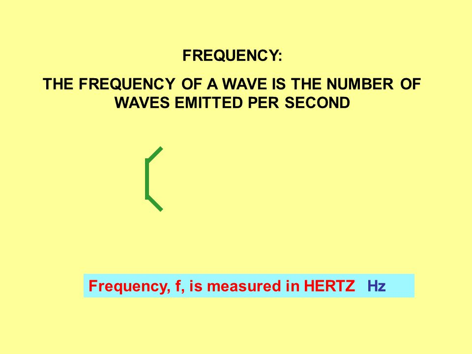 FREQUENCY: THE FREQUENCY OF A WAVE IS THE NUMBER OF WAVES EMITTED PER SECOND Frequency, f, is measured in HERTZHz