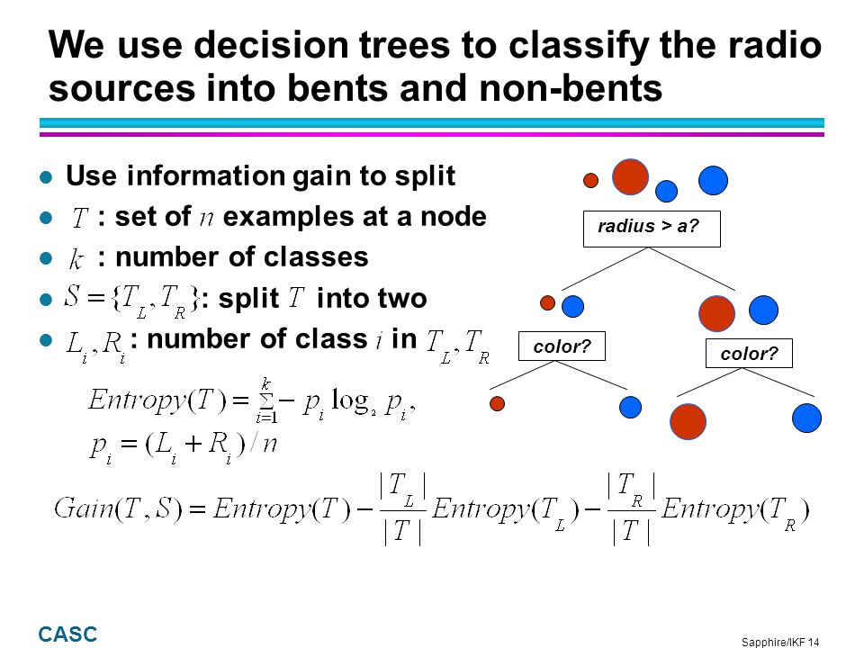 Sapphire/IKF 15 CASC Decision tree created with all the features: Tree 1 l Resubstitution error, train/test (90%) set: 2.8% l Cross-validation error, train/validate (10%) set: 5.3% Leaf node w/ 11 non-bents Leaf node w/ 4 bents Leaf node w/ 145 items, (145-4) bents, and 4 non-bents