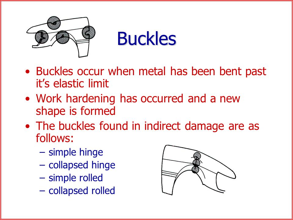 Buckles Buckles occur when metal has been bent past it's elastic limit Work hardening has occurred and a new shape is formed The buckles found in indirect damage are as follows: –simple hinge –collapsed hinge –simple rolled –collapsed rolled